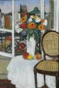 tableau fleurs fleurs montmartre interieur fenetre : fenêtre sur Montmartre