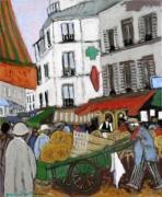 tableau scene de genre marche abbesses montmartre : marché des Abbesses