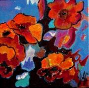 tableau fleurs fleurs expressionisme acrylique boss : C COQUELICOT