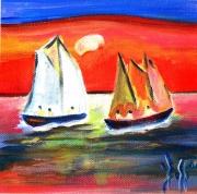 tableau marine bateaux marines expressionisme fauvisme : LE COUCHANT