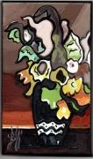 tableau fleurs fleurs expressionisme graphisme : FLEURS BRUNES