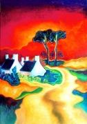 tableau paysages paysage futurisme fauvisme expressionisme : CHEMINS CROISÉS