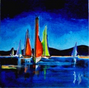 tableau marine bateaux expressionisme acrylique boss : BLOUNAUTICA