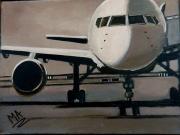 tableau autres avion tarmac sepia : white is white