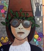 tableau personnages fille chapeau pot de fleurs pop art : fille au cha-pot