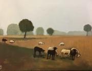 tableau animaux troupeau moutons brume petit matin : PETIT MATIN A ROCAMADOUR