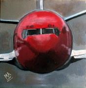 tableau autres avion ciel d orage rouge gris : RED PLANE