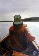 tableau personnages jeune femme barque fleuve rame : EDEN BLUES