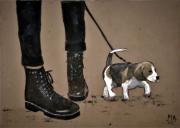 tableau animaux jeans doc marteens jeune femme chiot : DOCS & DOG
