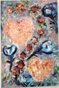 tableau fleurs imagination fleur deux cœurs : variation, fantaisie, fleur