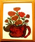 tableau cafetiere au bouquets de roses : Cafetière au bouquets de roses