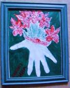 tableau fleurs vase en relief : Vase en relief