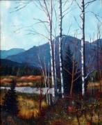 tableau paysages lac montagne arbres matin : Petit étang