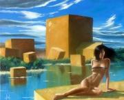 tableau nus cube nue femme paysage : Mais d'ou viennent tous ces cubes