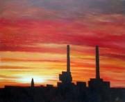 tableau villes levee soleil havre ciel : LH Burning Sky