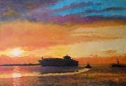 tableau marine bateau soleil couchan mer : Impression soleil couchant