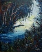 tableau paysages ruisseau foret arbre : Brèche lumineuse