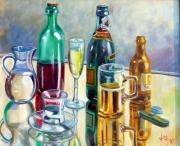 tableau nature morte bouteille verre reflet : Reflets de fête