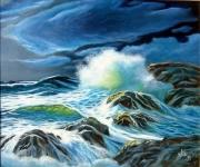 tableau marine vagues ocean lune deferlantes : Ecumes blues