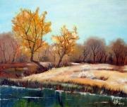tableau paysages automne foret riviere serenite : Sérénité automnale