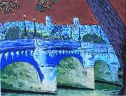 tableau villes paris pontneuf seine cite : Acrylique sur toile : Le Pont-Neuf, ciel pourpre