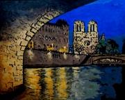 tableau villes paris seine pontneuf notredame : Acrylique sur toile : Sous le Pont-Neuf, la nuit