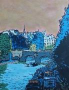 tableau villes paris pontneuf seine cite : Acrylique sur toile : le Pont-Neuf et la Cité