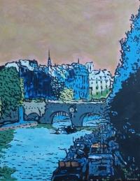Acrylique sur toile : le Pont-Neuf et la Cité