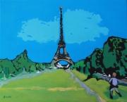 tableau villes paris toureiffel enfant : Acrylique sur toile : L'enfant et la Tour Eiffel