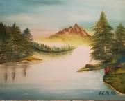 painting paysages montagne couleurs v chapeau velo voiture cadeau le n : paysage