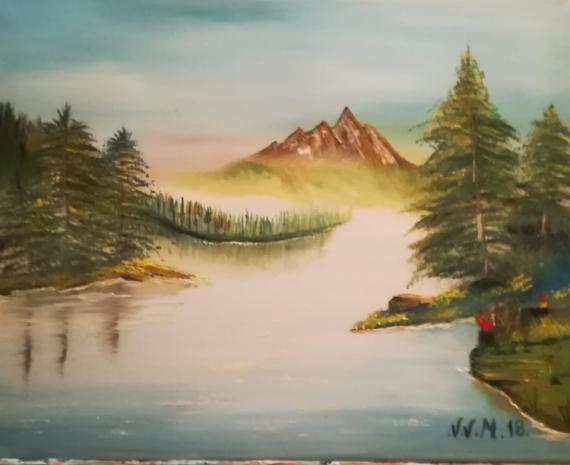 TABLEAU PEINTURE montagne  couleurs v chapeau vélo voiture cadeau le n Paysages Peinture a l'huile  - paysage