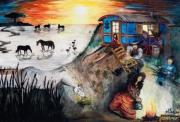 tableau paysages soleil ciel couleurs cadeaux : CAMARGUE