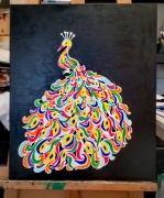tableau animaux dessin couleurs peinture photo : le paon