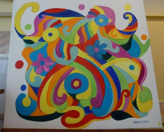 TABLEAU PEINTURE peinture deco veronique vanmeenen cadeau  - ARABESQUE