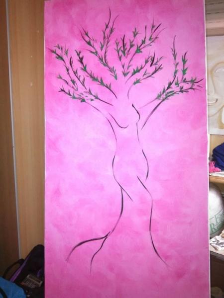 TABLEAU PEINTURE nature nu déco cadeaux Acrylique  - l'arbre rose