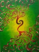 tableau abstrait acrylique arabesques vert rouge : Arabesques rouges sur vert