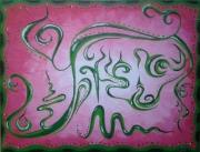 tableau abstrait acrylique arabesques rose vert : arabesques vertes sur rose