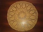 art textile mode napperon crochet jaune ocre : Napperon fait main au crochet jaune ocre