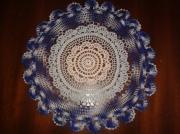 art textile mode napperon crochet bleu : Napperon bleu fait main au crochet