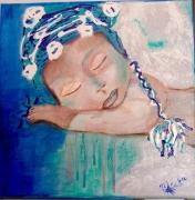 tableau personnages portrait enfant bleu dripping : Baby blue