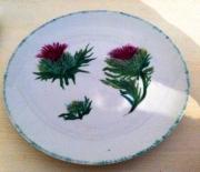 ceramique verre fleurs porcelaine chardons assiette : assiette aux chardons