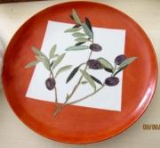 ceramique verre paysages olivier branche midi orange : branche d'olivier