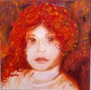 tableau personnages portrait enfant dripping rouge : Mélancolie