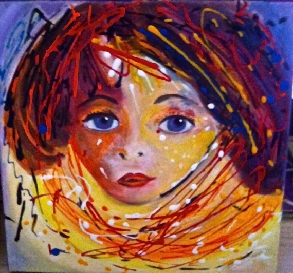 TABLEAU PEINTURE portrait enfant dripping orange Personnages Acrylique  - La fillette rousse