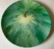 ceramique verre fruits assiette peinte ,a la pomme vert porcelaine : La pomme