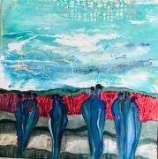 tableau abstrait silhouette afrique coulure : Palabres bleues