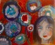 tableau personnages portrait fillette fleurs songe : Songe