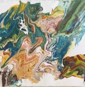 tableau abstrait pouring automne abstrait : couleurs automnales