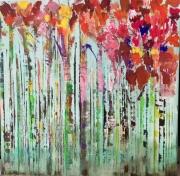 tableau paysages foret abstrait arbre paysage : Aurore sous les arbres