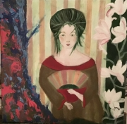 tableau personnages nature portrait fleurs : La dame verte